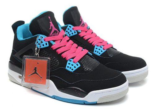 Nike Air Jordan Retro 4 черные с розовым (35-40)