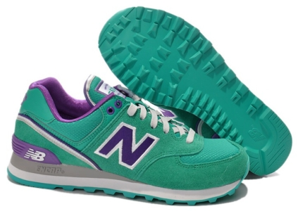 New Balance 574 зеленые с фиолетовым (35-39)