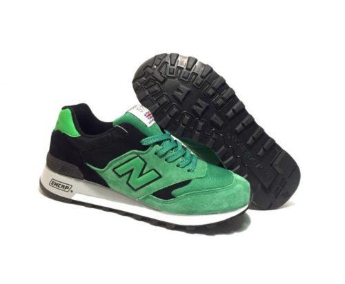 New Balance 577 замша-сетка черно-зеленые (40-44)
