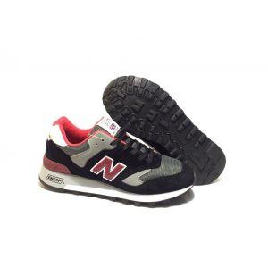 New Balance 577 замша-сетка черно-серые с красным (40-44)