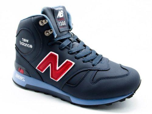 New Balance 1300 нубук с натуральным мехом темно-синие (40-45)