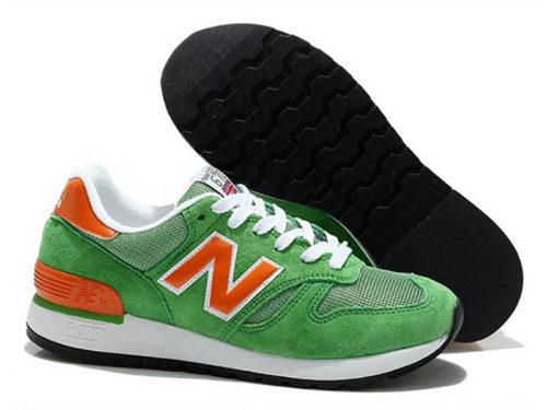 New Balance 670 замша-сетка зеленые с оранжевым (35-40)