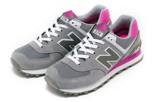 Кроссовки New Balance 574 серые с розовым (36-40)