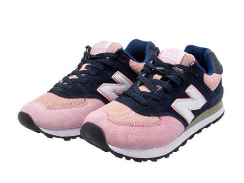 Кроссовки New Balance 574 синие с розовым (36-40)