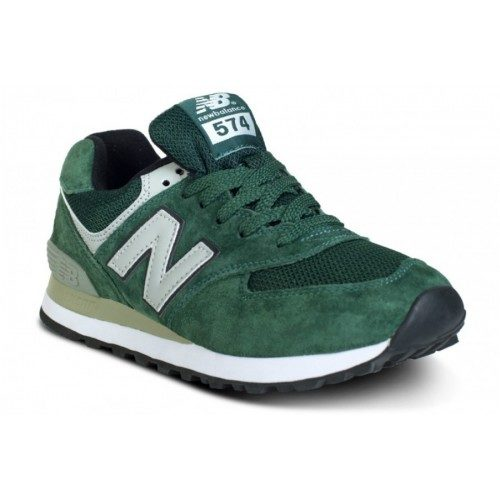 NEW BALANCE 574 ЗАМША зеленые с серым (40-44)