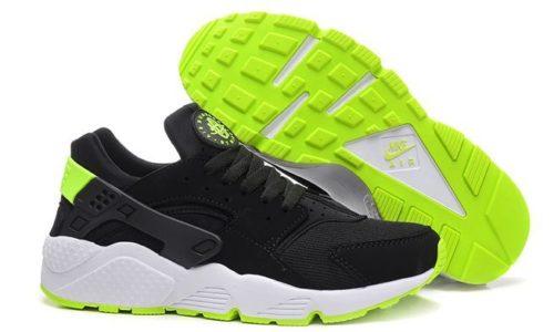 Nike Air Huarache черные с зеленым (35-44)