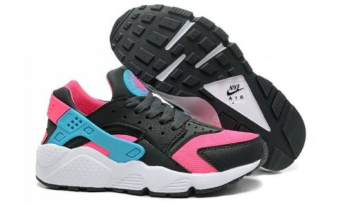 Nike Air Huarache черные с розовым и голубым (35-39)