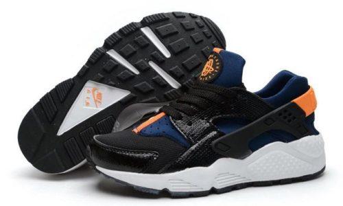 Nike Air Huarache черные синие с оранжевым (35-45)