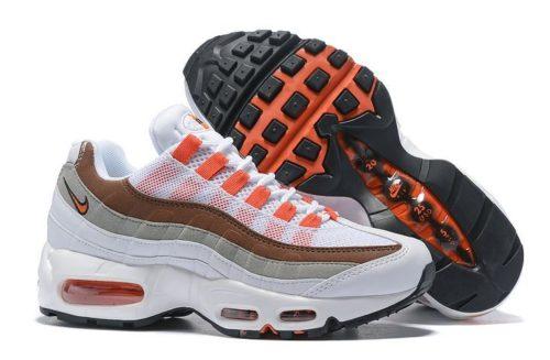 Nike Air Max 95 Essential белые коричневые с оранжевым (35-40)