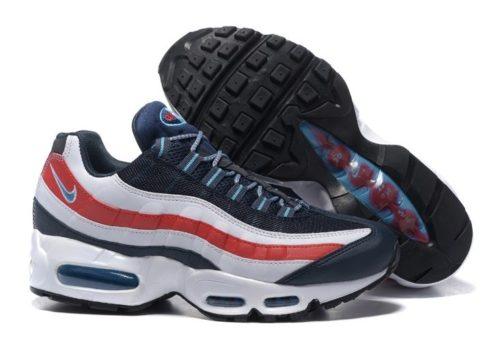 Nike Air Max 95 Essential белые с красным и синим (41-45)