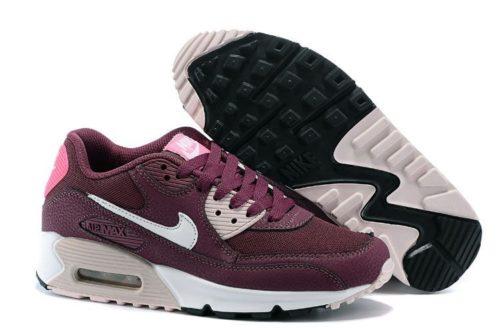 Nike Air Max 90 Essential бордовый с розовым (35-39)