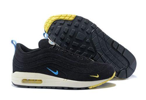 Nike Air Max 97 черные с желтым и голубым (35-40)