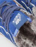 Зимние NEW BALANCE 574 с мехом замша синие с серым (35-39)
