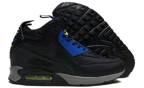 зимние Nike Air Max 90 High с мехом черные с синим кожа 40-45