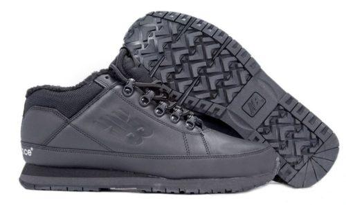 Кроссовки New Balance 754 с мехом кожаные All Black черные 40-44