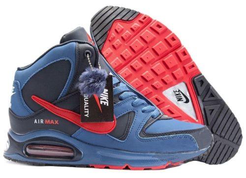 зимние Nike Air Max Skyline High с мехом синие 40-45