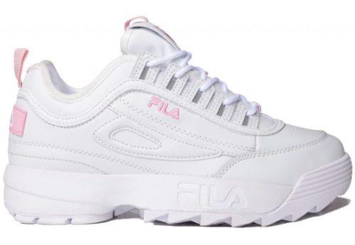 Зимние Fila Disruptor 2 с мехом белые с розовым (35-44)