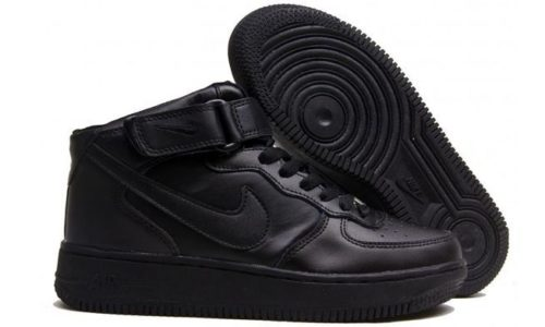 зимние Nike Air Force 1 Mid с мехом Black черные 35-45