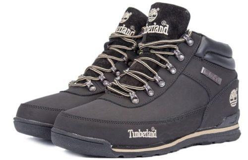 Ботинки Timberland Euro Sprint нубук с мехом Black черные 41-46