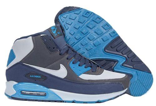 зимние Nike Air Max 90 High с мехом синим с голубым 40-45