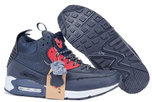 зимние Nike Air Max 90 High кожа с мехом синим с красным 40-45