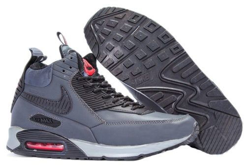 зимние Nike Air Max 90 High с мехом серые 40-45