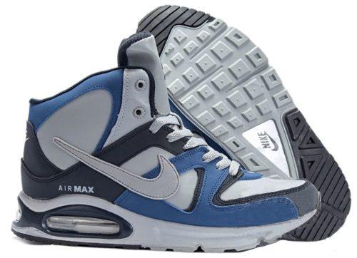 зимние Nike Air Max Skyline High с мехом белые с синим 35-39