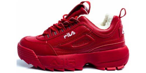 Зимние Fila Disruptor 2 красные с мехом (35-39)