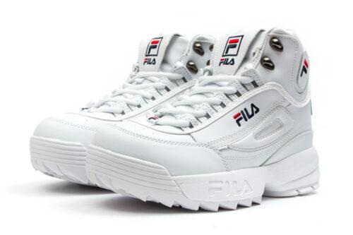 Зимние Fila Disruptor 2 высокие с мехом белые (35-40)