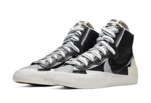 Nike Sacai Blazer Mid черные белые серые